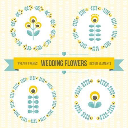 marcos redondos: Conjunto de elementos de la boda de diseño - marcos ornamentados redondo floral, flores geométricas, cinta para el mensaje. Perfecto para la invitación, ahorre la fecha, diseño de la boda. Amarillo, verde azulado, gris. ilustración.