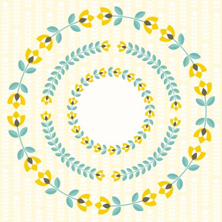 retro floral: Set of design elements - round floral ornamented frames with Scandinavian minimal folk style. Perfect for invitation, greeting card, save the date, wedding design. illustration.