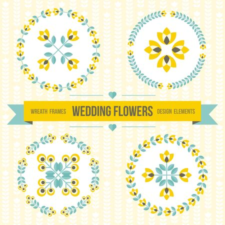 circle flower: Set of wedding design elements - round floral ornamented frames, geometric flowers, ribbon for message. Perfect for invitation,  save the date, wedding design. Yellow, teal, gray. illustration.