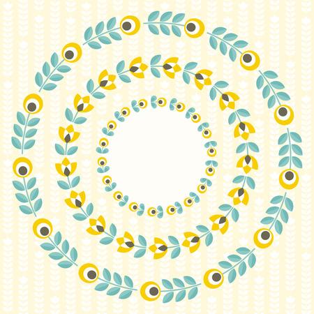 marcos redondos: Conjunto de elementos de diseño - marcos ornamentados redondo floral con estilo popular mínima escandinavo. Perfecto para la invitación, tarjetas de felicitación, ahorre la fecha, diseño de la boda. ilustración.