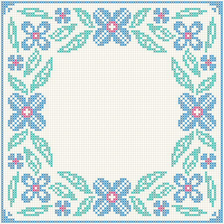 national border: Cross stitch flower pattern. Floral frame for cross-stitch embroidery in Ukrainian traditional ethnic style. Blue and green, illustration.