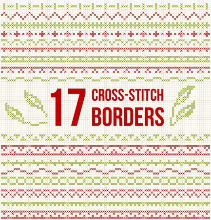 fabric patterns: Set of cross stitch pattern for thin borders. Geometric frames for cross-stitch embroidery in classic style. Red and green, illustration.