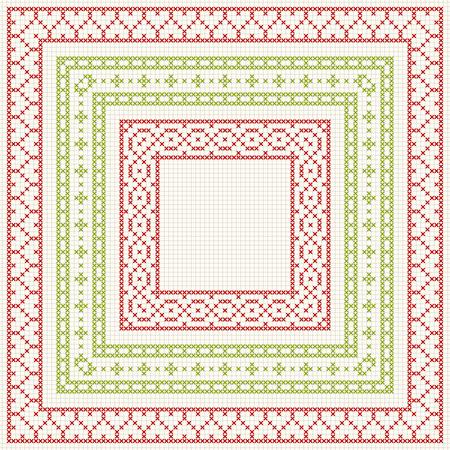 punto cruz: Conjunto del modelo de punto de cruz de trazo fino. marcos geométricos para el bordado de punto de cruz en estilo clásico. Rojo y verde, ilustración.