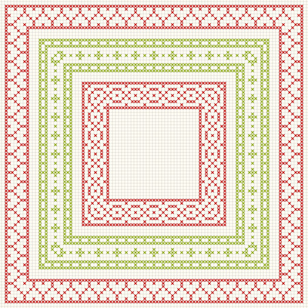 cross stitch: Set of cross stitch pattern for thin borders. Geometric frames for cross-stitch embroidery in classic style. Red and green, illustration.