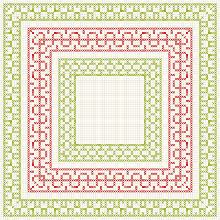 work popular: Set of cross stitch pattern for thin borders. Geometric frames for cross-stitch embroidery in classic style. Red and green, illustration.