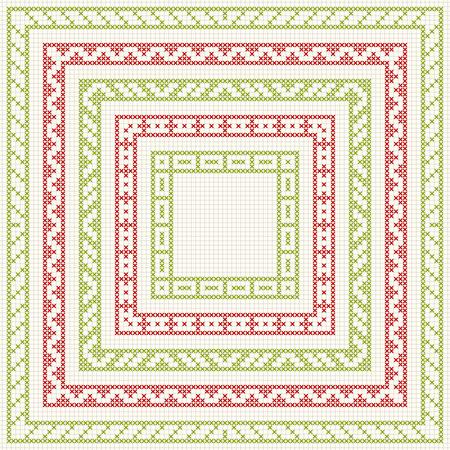 Ensemble De Motif De Point De Croix Pour Les Bordures Minces Trames Géométriques Pour Point De Croix Broderie Dans Un Style Classique Rouge Et Vert