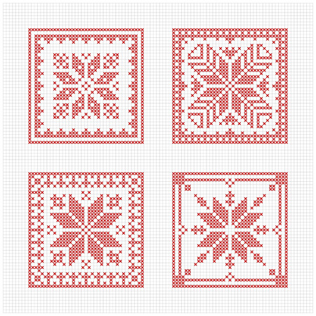 Set Of Tiles Scandinavian Cross Stitch Pattern Traditional