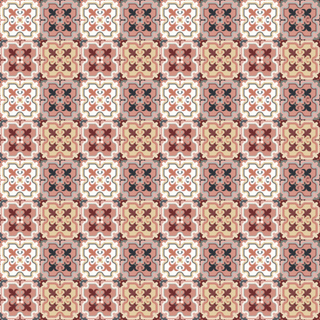 Floor tiles - seamless vintage pattern with quatrefoils.  Patchwork style pattern. Seamless vector background. Plain colors - easy to recolor. Illustration