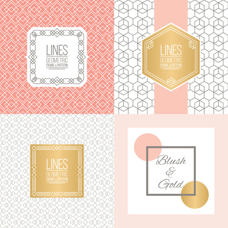 blush: Four abstract geometric backgrounds with linear patterns and monoline badges. Place for your logo, identity or text. Blush and golden colors. Perfect for wedding design. Illustration