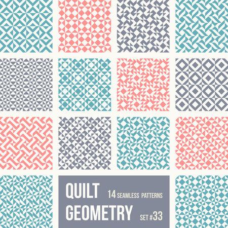 Satz von 12 Fliesen mit geometrischen Mustern. Sammlung von verschiedenen abstrakten Mustern, Nummer 33. Einfache Retro-Farben - einfach zu umfärben. Nahtlose Vektor-Hintergründe.
