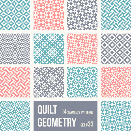 Set of 12 tiles with geometric patterns. Collection of different abstract patterns, number 33. Simple retro colors - easy to recolor. Seamless vector backgrounds.