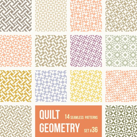 number 12: Set of 12 tiles with geometric patterns. Collection of different abstract patterns, number 33. Simple retro colors - easy to recolor. Seamless vector backgrounds.
