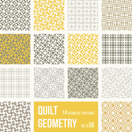 tessellation: Set of 12 tiles with geometric patterns. Collection of different abstract patterns, number 33. Simple retro colors - easy to recolor. Seamless vector backgrounds.