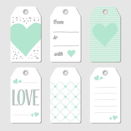 felicitaciones cumplea�os: Etiquetas del regalo con los corazones y el amor. Ilustraci�n del vector. Menta verde y gris. Vectores