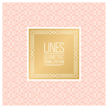 package design: Geometric linear pattern and monoline frame. Pink and golden colors. Seamless abstract vector background.  Package design - badge with geometric border and place for your logo, identity or text.