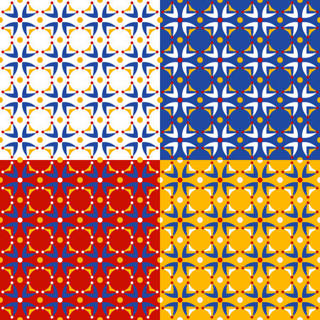 navy blue background: Four patterns with abstract  ditsy flowers in bright red, yellow and blue colors. Seamless vector background. Illustration