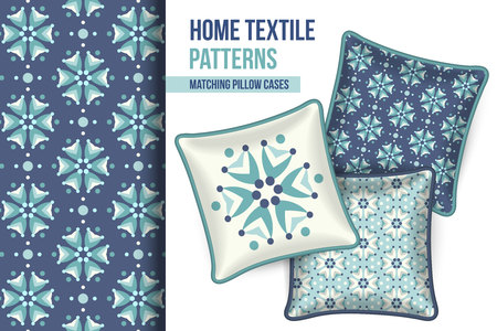 bed room: Pattern and Set of 3 matching decorative throw pillows with this pattern applied.