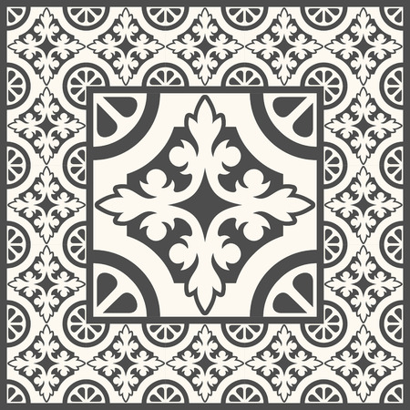 tile pattern: Floor tiles - seamless vintage pattern with cement tiles. Seamless vector background. Vector illustration. One big tile in center is framed in small tiles.