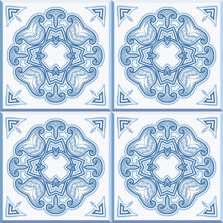 edwardian: Floor tiles - seamless vintage pattern with cement tiles. Seamless vector background. Vector illustration.