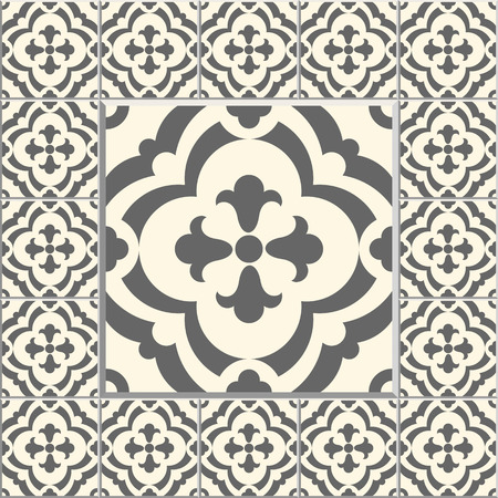 Floor tiles - seamless vintage pattern with cement tiles. Seamless vector background. Vector illustration. One big tile in center is framed in small tiles. Vector Illustration