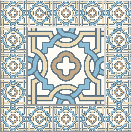 quatrefoil: Floor tiles - seamless vintage pattern with cement tiles. Seamless vector background. Vector illustration. One big tile in center is framed in small tiles.