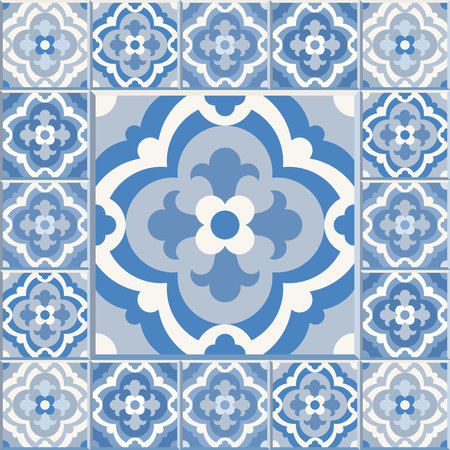 edwardian: Floor tiles - seamless vintage pattern with cement tiles. Seamless vector background. Vector illustration. One big tile in center is framed in small tiles.