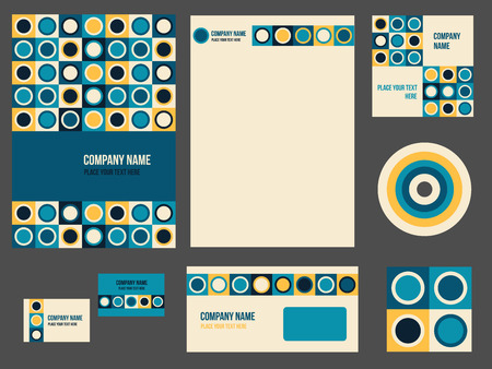 business event: Corporate identity for company or event. Vector template for business stationery set. Vector illustration in teal and yellow colors with geometric patterns.
