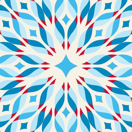 edwardian: Floor tile - fantastic flower in blue and red. Vector illustration.