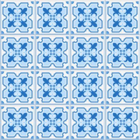 quatrefoil: Floor tiles - seamless vintage pattern with cement tiles. Seamless vector background. Vector illustration.