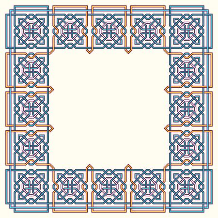 entwined: Frame with tangled modern pattern design elements, based on traditional oriental arabic patterns. Vector illustration. Plain colors - easy to recolor.