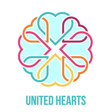 simbolo della pace: Molti cuori uniti - amicizia, l'amore e il concetto di carità. Illustrazione vettoriale.