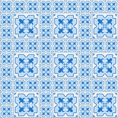 dutch tiles: Floor tiles - seamless vintage pattern with cement tiles. Seamless vector background. Vector illustration. Traditional colors for Dutch tiles - blue and white.