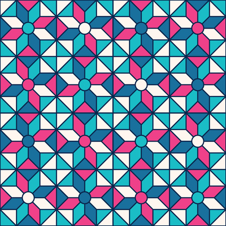 tessellation: Stained-glass window pattern with simple geometric shapes.