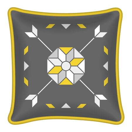 throw cushion: Star flower and arrows pattern. Decorative throw pillow, patterned pillowcase. Isolated on white. Vector illustration. Cushion pillow with grey and yellow abstract geometric pattern Illustration
