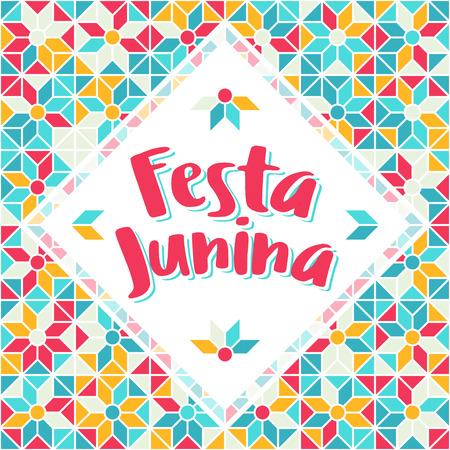festa: Festa Junina illustration - traditional Brazil june festival party - Midsummer holiday. Carnival background - lettering Festa Junina, abstract festive pattern. Seamless geometric pattern background.