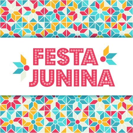 midsummer: Festa Junina illustration - traditional Brazil june festival party - Midsummer holiday. Carnival background - lettering Festa Junina, abstract festive pattern. Seamless geometric pattern background.