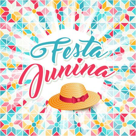 midsummer: Festa Junina illustration - traditional Brazil june festival party - Midsummer holiday. Carnival background - lettering Festa Junina, thatched hat, light rays on abstract festive pattern.