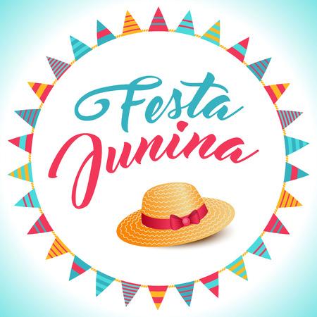 thatched: Festa Junina illustration - traditional Brazil june festival party