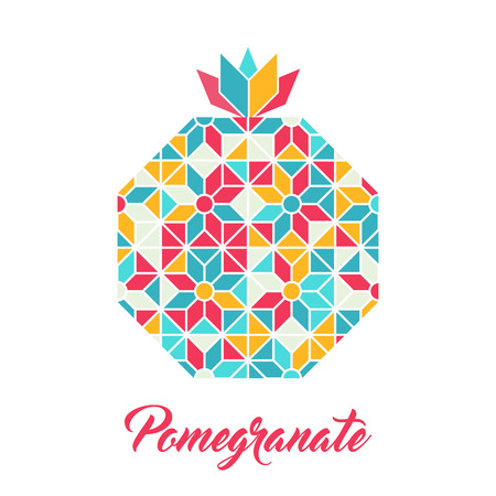 Symbol of Pomegranate, vector illustration. Made with polygons like a crystal. Abstract colorful geometric pattern.