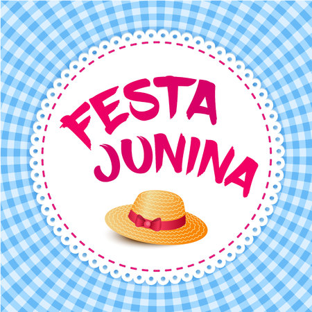 midsummer: Festa Junina illustration - traditional Brazil june festival party - Midsummer holiday.  illustration - round frame with lettering Festa Junina and thatched hat on blue gingham cloth.