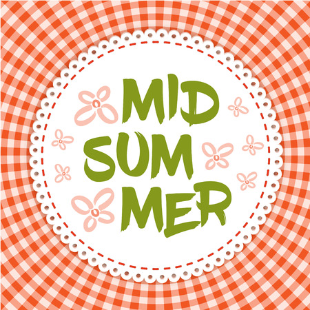 midsummer: June festival party poster - Midsummer holiday. illustration - round frame with lettering Midsummer and pink flowers on red gingham cloth. Illustration