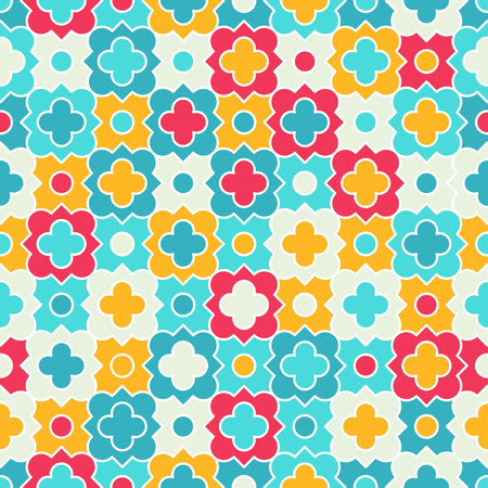 Traditional quatrefoil lattice pattern. Colorful quatrefoil shapes, bright colors - red, turquoise, yellow. Seamless background.