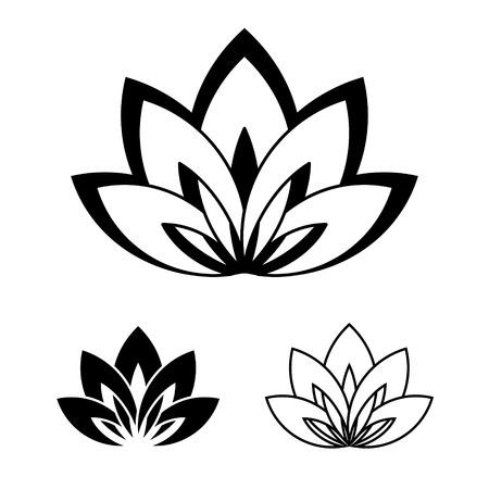 Cinco pétalos de la flor de loto como símbolo de yoga. Ilustración del vector para evento de yoga, escuela, club, web, balneario, tatuaje. Símbolo de la belleza y la juventud. colores blanco y negro.