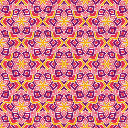 entwined: Abstract floral pattern. Geometric flowers in seamless vector pattern. Pattern with abstract flowers in oriental arabesque style. Seamless vector background.