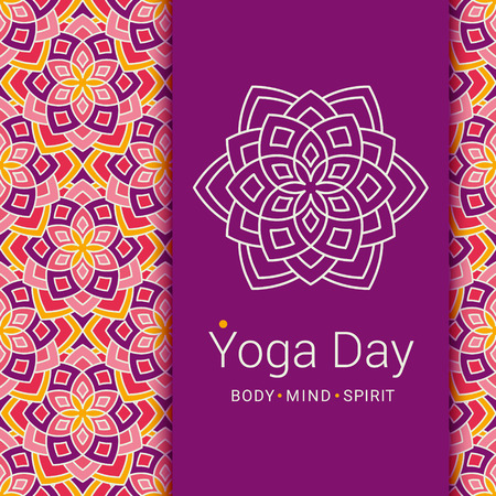 mind body: Bright card with Lotus flower. Sample text - Yoga day, body and mind and spirit. Vector illustration for yoga event, school, club, invitation, spa. Patterned background.