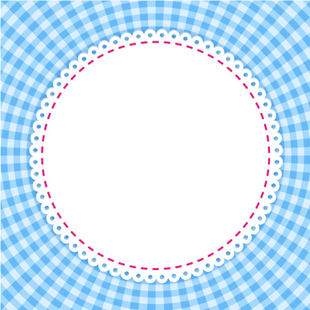 gingham pattern: Round frame with classic tablecloth pattern. Traditional Gingham pattern in blue colors. Checkered pattern. Abstract geometric background.