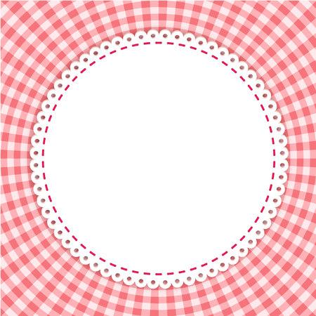 클래식 식탁보 패턴으로 라운드 프레임입니다. 붉은 색의 전통적인 깅 검 패턴입니다. 체크 무늬 패턴. 추상 형상 배경입니다. 일러스트