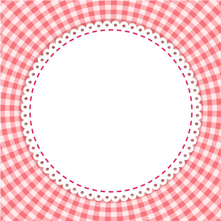 gingham pattern: Round frame with classic tablecloth pattern. Traditional Gingham pattern in red colors. Checkered pattern. Abstract geometric background. Illustration
