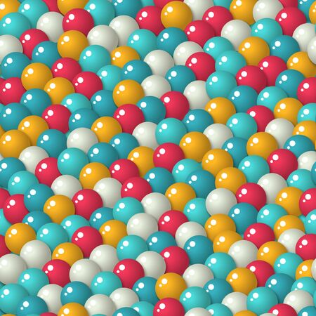 gumballs: Colorful pattern with a lot of gumballs, mixed colors. Seamless background. Bright game background with glossy balls. Illustration