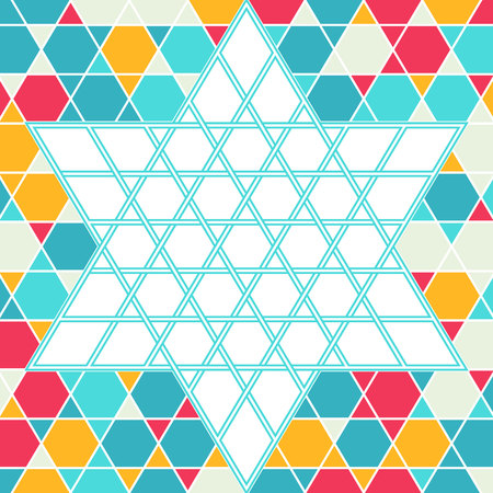 jewish star: Traditional oriental tangled six-rays star symbol. Jewish star Magendavid - Star of David. illustration. Colorfur patterned geometric background. Illustration